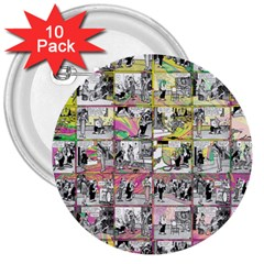 Comic book  3  Buttons (10 pack)