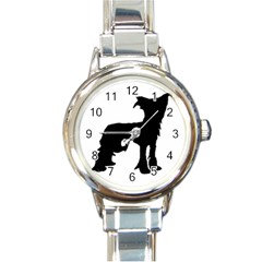 Chinese Crested Silo Black Round Italian Charm Watch
