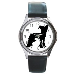 Chinese Crested Silo Black Round Metal Watch