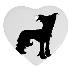Chinese Crested Silo Black Ornament (Heart)