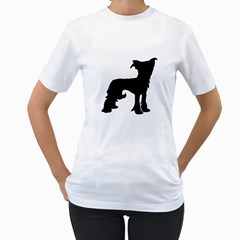 Chinese Crested Silo Black Women s T-Shirt (White) (Two Sided)