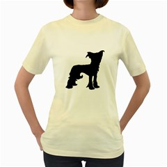 Chinese Crested Silo Black Women s Yellow T-Shirt