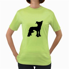 Chinese Crested Silo Black Women s Green T-Shirt