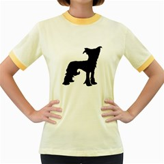 Chinese Crested Silo Black Women s Fitted Ringer T-Shirts