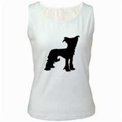 Chinese Crested Silo Black Women s White Tank Top