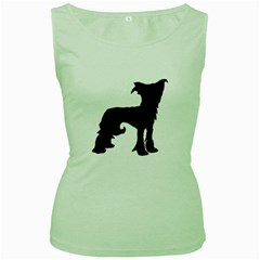 Chinese Crested Silo Black Women s Green Tank Top