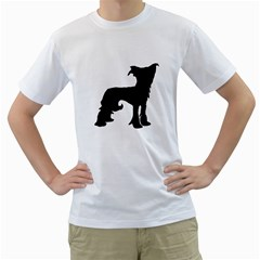Chinese Crested Silo Black Men s T-Shirt (White) (Two Sided)