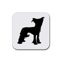 Chinese Crested Silo Black Rubber Square Coaster (4 pack)