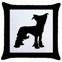 Chinese Crested Silo Black Throw Pillow Case (Black)