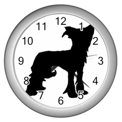 Chinese Crested Silo Black Wall Clocks (Silver)