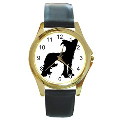 Chinese Crested Silo Black Round Gold Metal Watch