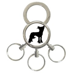 Chinese Crested Silo Black 3-Ring Key Chains