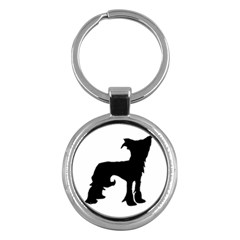 Chinese Crested Silo Black Key Chains (Round)