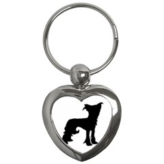 Chinese Crested Silo Black Key Chains (Heart)