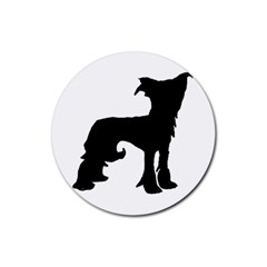 Chinese Crested Silo Black Rubber Coaster (Round)