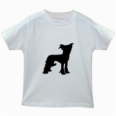 Chinese Crested Silo Black Kids White T-Shirts
