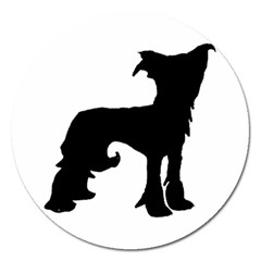 Chinese Crested Silo Black Magnet 5  (Round)