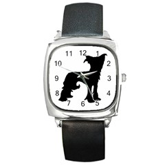 Chinese Crested Silo Black Square Metal Watch