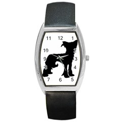 Chinese Crested Silo Black Barrel Style Metal Watch