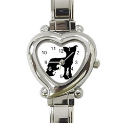 Chinese Crested Silo Black Heart Italian Charm Watch