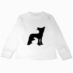 Chinese Crested Silo Black Kids Long Sleeve T-Shirts