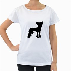 Chinese Crested Silo Black Women s Loose-Fit T-Shirt (White)