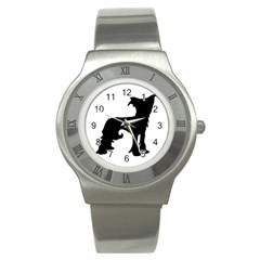 Chinese Crested Silo Black Stainless Steel Watch