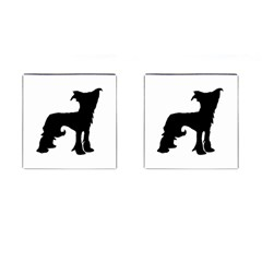 Chinese Crested Silo Black Cufflinks (Square)