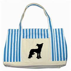Chinese Crested Silo Black Striped Blue Tote Bag
