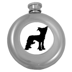 Chinese Crested Silo Black Round Hip Flask (5 oz)