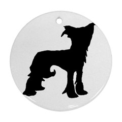 Chinese Crested Silo Black Round Ornament (Two Sides)
