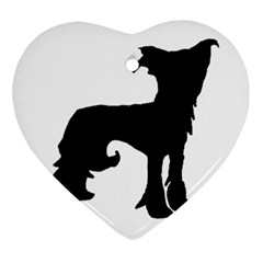Chinese Crested Silo Black Heart Ornament (Two Sides)