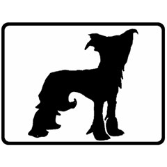 Chinese Crested Silo Black Fleece Blanket (Large)