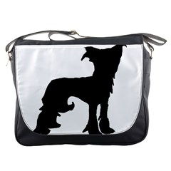 Chinese Crested Silo Black Messenger Bags