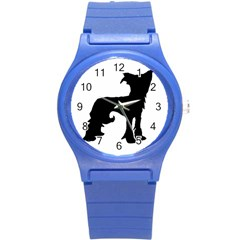 Chinese Crested Silo Black Round Plastic Sport Watch (S)