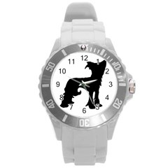 Chinese Crested Silo Black Round Plastic Sport Watch (L)