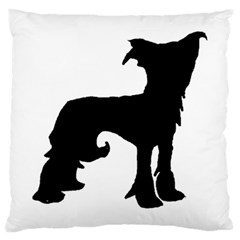 Chinese Crested Silo Black Large Cushion Case (Two Sides)