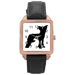Chinese Crested Silo Black Rose Gold Leather Watch
