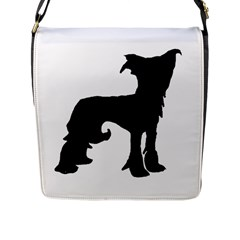 Chinese Crested Silo Black Flap Messenger Bag (L)