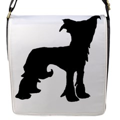 Chinese Crested Silo Black Flap Messenger Bag (S)