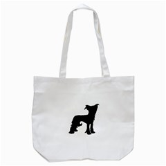Chinese Crested Silo Black Tote Bag (White)