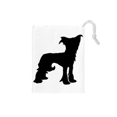 Chinese Crested Silo Black Drawstring Pouches (Small)