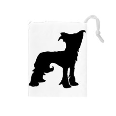 Chinese Crested Silo Black Drawstring Pouches (Medium)