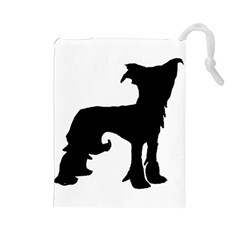 Chinese Crested Silo Black Drawstring Pouches (Large)