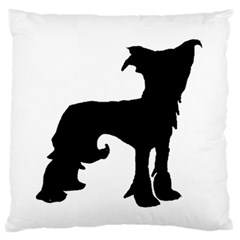 Chinese Crested Silo Black Large Flano Cushion Case (Two Sides)