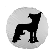 Chinese Crested Silo Black Standard 15  Premium Flano Round Cushions