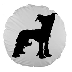Chinese Crested Silo Black Large 18  Premium Flano Round Cushions