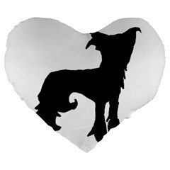 Chinese Crested Silo Black Large 19  Premium Flano Heart Shape Cushions