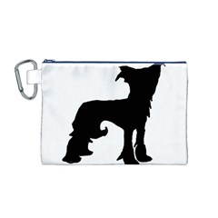 Chinese Crested Silo Black Canvas Cosmetic Bag (M)