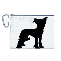 Chinese Crested Silo Black Canvas Cosmetic Bag (L)